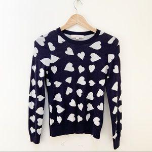 LOFT heart patterned scoop neck sweater XS
